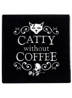 Catty Without Coffee Ceramic Coaster Gothic Plus Gothic Clothing, Jewelry, Goth Shoes & Boots & Home Decor