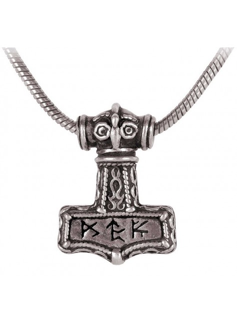 Bindrune Thors Hammer Pewter Necklace at Gothic Plus, Gothic Clothing, Jewelry, Goth Shoes & Boots & Home Decor