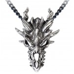 Dragon Skull Pewter Gothic Necklace