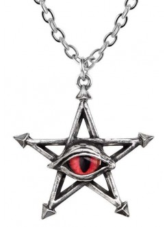 Red Curse Pentagram Eye Pewter Necklace Gothic Plus Gothic Clothing, Jewelry, Goth Shoes & Boots & Home Decor
