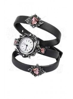 Heartfelt Leather and Pewter Gothic Wrist Wrap Watch Gothic Plus Gothic Clothing, Jewelry, Goth Shoes & Boots & Home Decor