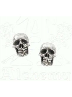 Mortaurium Pewter Skull Stud Earring Pair Gothic Plus Gothic Clothing, Jewelry, Goth Shoes & Boots & Home Decor