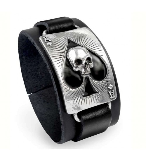 Ace of Dead Spades Leather Strap Bracelet at Gothic Plus,  Gothic Clothing, Jewelry, Goth Shoes, Boots & Home Decor