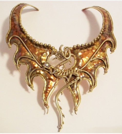 Mother of Dragons Choker in Bronze and Copper at Gothic Plus,  Gothic Clothing, Jewelry, Goth Shoes, Boots & Home Decor