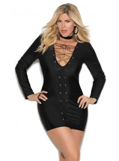 Lace Up Front Black Mini Dress Gothic Plus Gothic Clothing, Jewelry, Goth Shoes & Boots & Home Decor