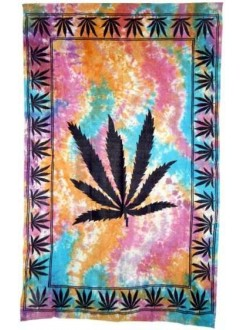 Hemp Leaf Tie Dye Cotton Full Size Tapestry Gothic Plus Gothic Clothing, Jewelry, Goth Shoes & Boots & Home Decor