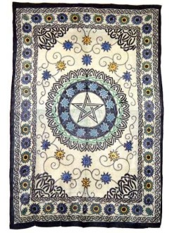 Floral Pentacle Cotton Full Size Tapestry Gothic Plus Gothic Clothing, Jewelry, Goth Shoes & Boots & Home Decor