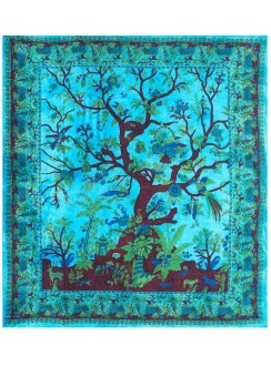 Tree of Life Blue Double Tapestry Gothic Plus Gothic Clothing, Jewelry, Goth Shoes & Boots & Home Decor