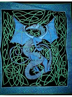 Celtic English Dragon Tapestry - Full Size Blue Gothic Plus Gothic Clothing, Jewelry, Goth Shoes & Boots & Home Decor