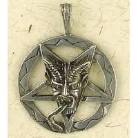 Baphomet Inverted Pentagram Pewter Necklace