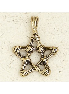 Bronze Twig Pentagram Necklace Gothic Plus Gothic Clothing, Jewelry, Goth Shoes & Boots & Home Decor