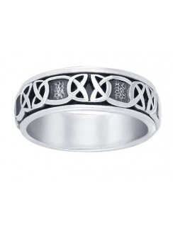 Celtic Knot Band Sterling Silver Fidget Spinner Ring Gothic Plus Gothic Clothing, Jewelry, Goth Shoes & Boots & Home Decor
