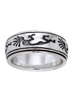 Kokopelli Sterling Silver Fidget  Spinner Ring Gothic Plus Gothic Clothing, Jewelry, Goth Shoes & Boots & Home Decor