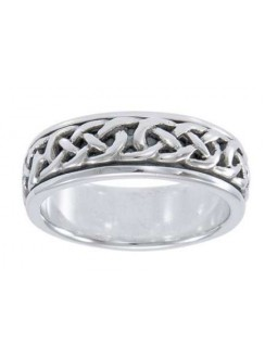 Celtic Knotwork Sterling Silver Fidget Spinner Ring Gothic Plus Gothic Clothing, Jewelry, Goth Shoes & Boots & Home Decor