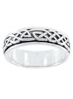 Celtic Knot Woven Sterling Silver Fidget Spinner Ring Gothic Plus Gothic Clothing, Jewelry, Goth Shoes & Boots & Home Decor