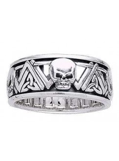 Skull Trinity Knot Sterling Silver Fidget Spinner Ring Gothic Plus Gothic Clothing, Jewelry, Goth Shoes & Boots & Home Decor