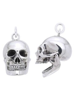 Skull Sterling Silver Pendant with Movable Jaw Gothic Plus Gothic Clothing, Jewelry, Goth Shoes & Boots & Home Decor