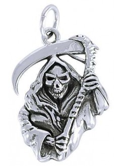 Grim Reaper Sterling Silver Charm Gothic Plus Gothic Clothing, Jewelry, Goth Shoes & Boots & Home Decor