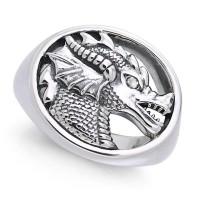 King Arthur Pendragon Seal White Zirconium Ring