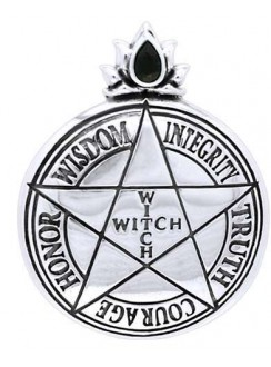 Witch Virtues Pentagram Sterling Silver Pendant Gothic Plus Gothic Clothing, Jewelry, Goth Shoes & Boots & Home Decor