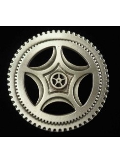 Steampunk Clock Gear Large Pewter Brooch Pin Gothic Plus Gothic Clothing, Jewelry, Goth Shoes & Boots & Home Decor