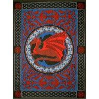 Red Celtic Dragon Tapestry