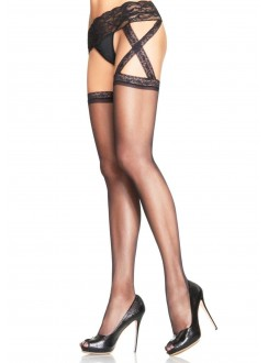 Criss Cross Sheer Black Suspender Stockings  - Pack of 3 Gothic Plus Gothic Clothing, Jewelry, Goth Shoes & Boots & Home Decor