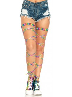 Rainbow Leg Wraps Gothic Plus Gothic Clothing, Jewelry, Goth Shoes & Boots & Home Decor