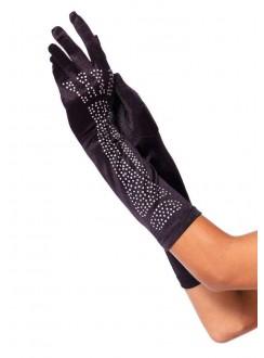 Black Rhinestone Bone Elbow Length Gloves Gothic Plus Gothic Clothing, Jewelry, Goth Shoes & Boots & Home Decor