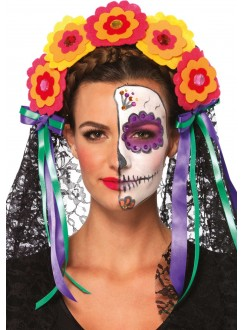 Day of the Dead Flower Headband Gothic Plus Gothic Clothing, Jewelry, Goth Shoes & Boots & Home Decor