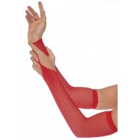 Red Fishnet Arm Warmers