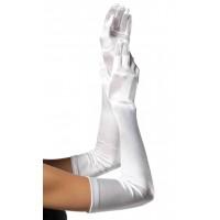 Satin Extra Long White Bridal Opera Gloves