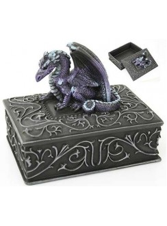 Purple Dragon Square Trinket Box Gothic Plus Gothic Clothing, Jewelry, Goth Shoes & Boots & Home Decor
