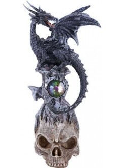 Black Dragon on Skull Fantasy Art Statue Gothic Plus Gothic Clothing, Jewelry, Goth Shoes & Boots & Home Decor