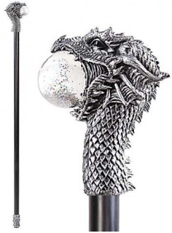 Dragon Head Walking Stick Gothic Gents Cane with Light Up Orb Gothic Plus Gothic Clothing, Jewelry, Goth Shoes & Boots & Home Decor