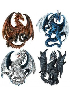 Set of 4 Dragon Magnets Gothic Plus Gothic Clothing, Jewelry, Goth Shoes & Boots & Home Decor