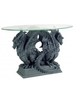 Double Dragon Glass Top Accent Table Gothic Plus Gothic Clothing, Jewelry, Goth Shoes & Boots & Home Decor