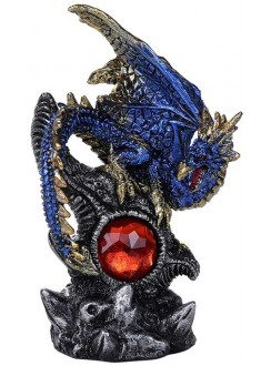 Blue Dragon with Gemstone Statue Gothic Plus Gothic Clothing, Jewelry, Goth Shoes & Boots & Home Decor