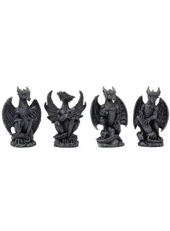 Mini Dragon Statue Set of 4 Gothic Plus Gothic Clothing, Jewelry, Goth Shoes & Boots & Home Decor