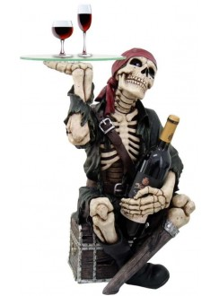 Pirate Skeleton Glass Top Accent Table and Wine Holder Gothic Plus Gothic Clothing, Jewelry, Goth Shoes & Boots & Home Decor