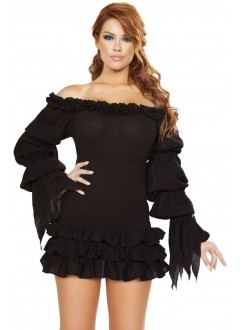 Ruffled Black Gothic Pirate Dress Gothic Plus Gothic Clothing, Jewelry, Goth Shoes & Boots & Home Decor