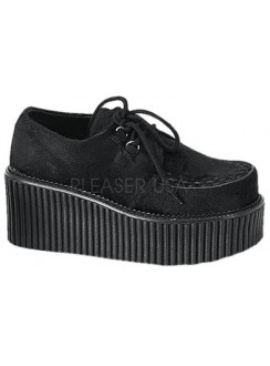Black Suede Woven Womens Creeper Gothic Plus Gothic Clothing, Jewelry, Goth Shoes & Boots & Home Decor