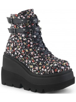 Shaker 52 Floral Print Womens Wedge Ankle Boot Gothic Plus Gothic Clothing, Jewelry, Goth Shoes & Boots & Home Decor