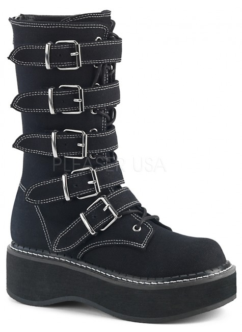 Emily White Edged Platform Mid-Calf Boot at Gothic Plus, Gothic Clothing, Jewelry, Goth Shoes & Boots & Home Decor
