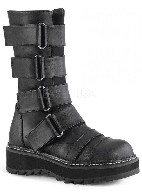 Lilith Black Wide Strap Mid-Calf Boots at Gothic Plus, Gothic Clothing, Jewelry, Goth Shoes & Boots & Home Decor