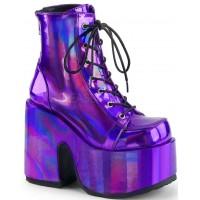 Purple Hologram Chunky Platform Boots