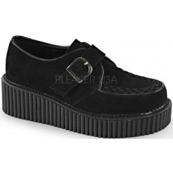 Platform Monk Creeper for Women in Black Vegan Suede Gothic Plus Gothic Clothing, Jewelry, Goth Shoes & Boots & Home Decor