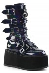 Damned Black Hologram Buckled Gothic Boots for Women