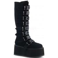Damned Black Velvet Gothic Knee Boots for Women