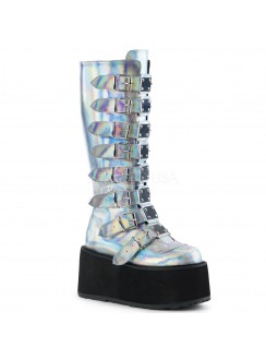 Damned Silver Hologram Gothic Knee Boots for Women Gothic Plus Gothic Clothing, Jewelry, Goth Shoes & Boots & Home Decor